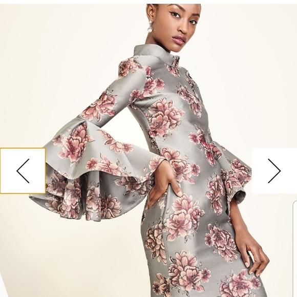 Badgley Mischka Dresses & Skirts - Badgley Mischka Funnel-Neck Floral Cocktail Dress